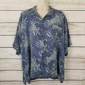 Tommy Bahama Silk Pineapple Pocket Hawaiian Shirt